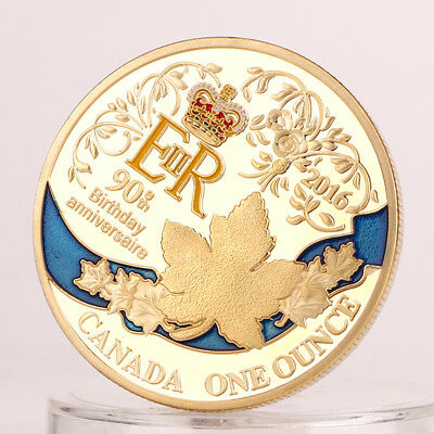 Queen's 90th anniversary golden commemorative coin Canadian Maple Leaf Coin