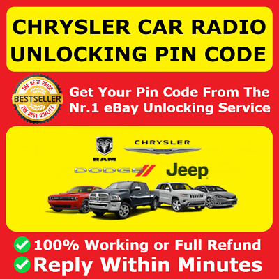 Chrysler Jeep Dodge Ram Radio Code Supply T00 Am Unlock Code Pin Service For