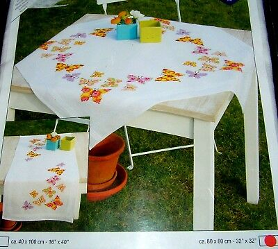 White Stamped Vervaco Tablecloth Embroidery Project Butterfly Kit Orange Yellow