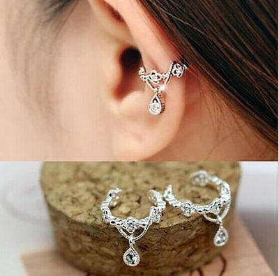 New Fashion Women Ear Cuff Wrap Rhinestone Crystal Clip On Earring Jewelry