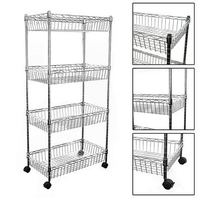 124x60x35cm Real Chrome Wire Rack Metal Steel Kitchen Shelving Racks Caster UKED