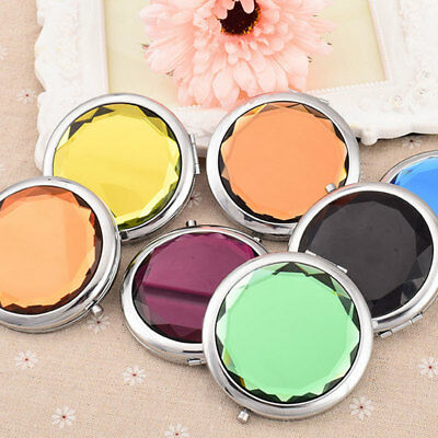 Mini Double-sided Makeup Mirror Compact Pocket Portable Crystal Folding Cosmetic