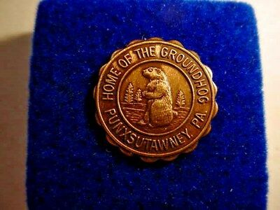 "Vintage Ground Hog Lapel Pin~""Punxsutawney Phil"" - Punxsutawney, PA  Ant. Bronze"