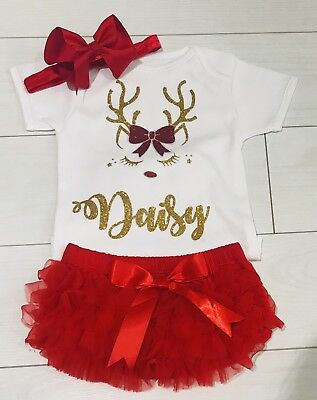 Luxury Girls My 1st First Personalised Christmas Outfit Tutu Knickers Red Gold