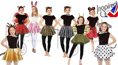 Kids ANIMAL COSTUME FANCY DRESS SKIRT Party Accessory Girls EARS BOW TAIL SET UK