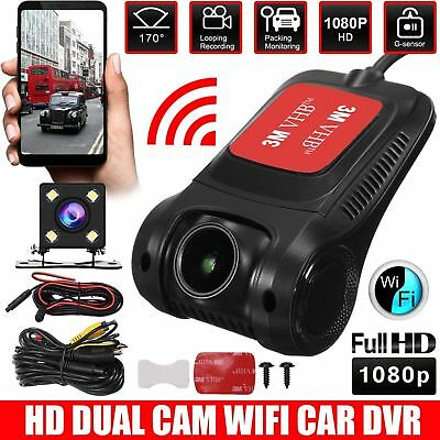 WiFi Car DVR Hidden Camera 1080P HD Dash Cam Rear Front Dual lens video recorder