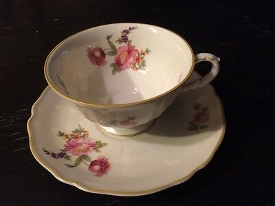 K & A Krautheim SELB Bavaria Germany TEA CUP AND SAUCER PINK ROSES & Flowers
