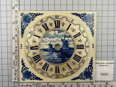 Used Medium Size Blue Delft Tile With Dial For Zaandam Or Zaanse Wall Clock