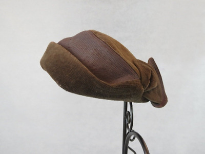 Vintage Hat - Brown Quilted Velvet Hat With Petal Trim by Gina Davies