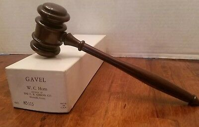 "Vintage Wood Mahogany Lawyer Auctionneer Gavel 10"" C.R. Gibson Co Original Box"