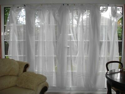 Pair Of Large Net Curtains Suit French Windows Patio Doors 82 L