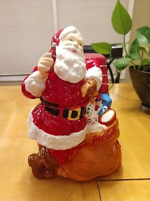 "Coca-Cola 2005 Santa At Fireplace Gibson 11"" Cookie Jar - New In Box"