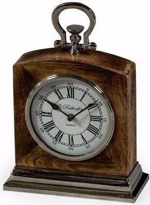 Fabulous Large Wood Polished Nickel Mantle Clock Glass Fronted Face 40cm H