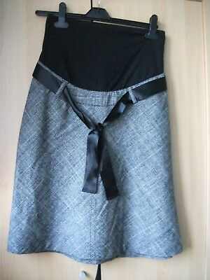 Ladies H&M maternity  black wool mix checked skirt size S ( 10 ) in a VGC