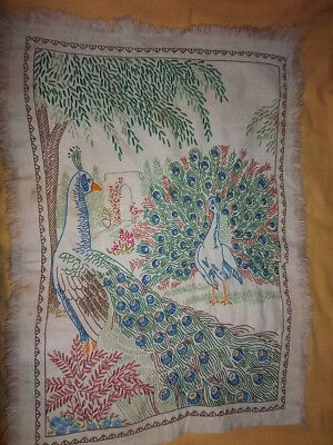 *1920s STITCHERY* Vintage *EMBROIDERY PEACOCKS DESIGN* Excellent Condition 15x21