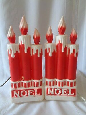 "Lot of 2 Dapol Vintage NOEL Triple Candles Lighted Blow Mold ~ Each 13"" tall"