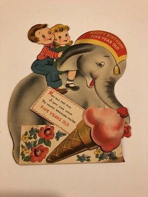 Vintage Birthday Card 1950s Childs Boy & Girl With Elephant