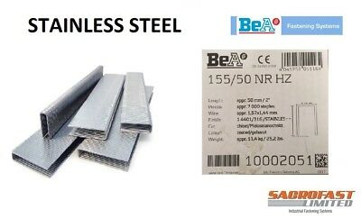 STAINLESS STEEL 155 (16) TYPE STAPLES BOX 7,000 - 50MM BY BeA