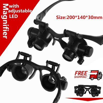 Jeweler Watch Repair Magnifying Loupe Glasses Lens 2 LED Eyewear magnifier S4W