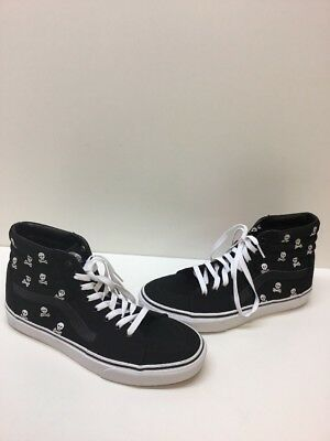 5d9e2fd0a75b62 VANS Sk8 Hi Black Skull Print Canvas Lace Up Skate Shoes Men Size 8.5  Womens 10