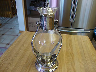 Antique Silverplated Tilting Carafe With Warmer