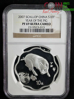 """2007 Scallop China Silver 10 Yuan Coin - """"year Of The Pig"""" Ngc Graded Pf69 #7183"""