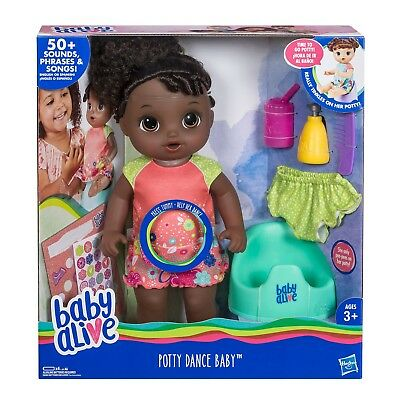 Baby Alive Potty Dance Baby Doll - Black Curly Hair - *sealed* Brand New