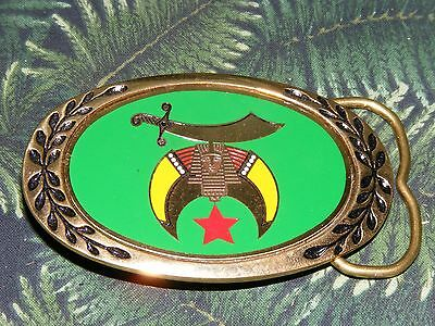 Vintage Shriners Jewel of the Order Solid Brass Belt Buckle by Heritage Buckles