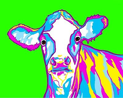 8x10 COW on Green Signed Art PRINT of Digital Oil Painting by VERN Animals