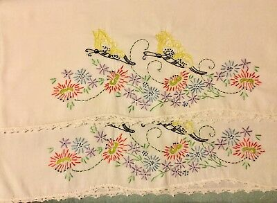 VINTAGE Embroidered Pillowcases Pink Purple Flowers-Butterflies Crocheted Edge