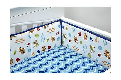 Nemo crib bumper wavy Days disney Baby secure me New finding 4 piece fish blue