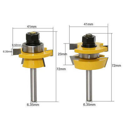 """2 x Tongue and Groove Router Bit 1/4"""" Shank T Shape Wood Milling Cutter Tool"""