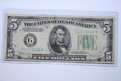 1934C $5 Federal Reserve **star** Note.~Looks To Be In Very Fine+ Condition