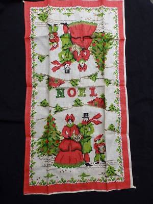 Lovely Vintage Linen Christmas Tea Towel~Carolers~Unused