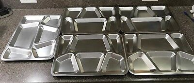 """5 US FIP Stainless Steel Divided Military Cafeteria Mess Hall Trays 15.5 X 11.5"""""""