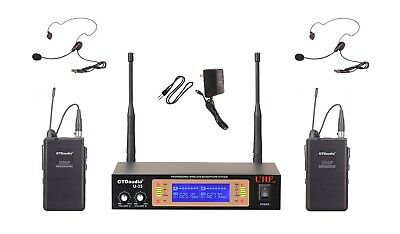 GTD Audio 2Ch UHF  Handheld Lavaliere Wireless Microphone Mic System  NEW 35LL