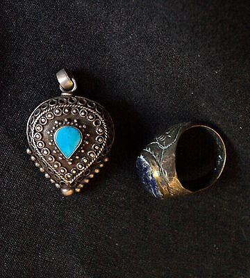 Authentic Afghan Jewelry, Low Silver Old Pendant & Ring Turquoise/Lapis lazuli