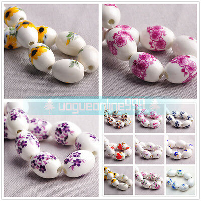 10Pcs 18x12mm Oval Ceramic/Porcelain Loose Beads 2.5~3mm Hole DIY Bracelets