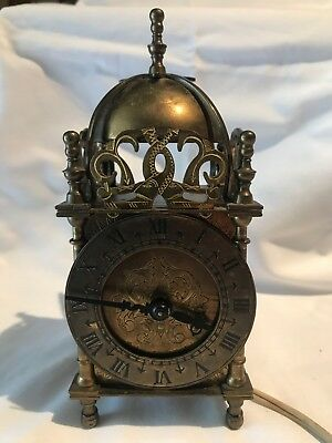 Vintage Working Smiths English Brass Lantern Mantel Clock Great Britain