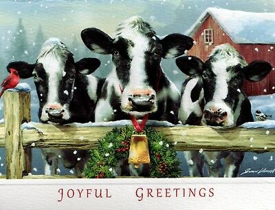 10 Embossed Boxed Christmas Cards Cows Holsteins Farm Barn Cattle