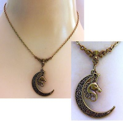 Unicorn Moon Necklace Gold Pendant Jewelry Handmade NEW Chain Adjustable
