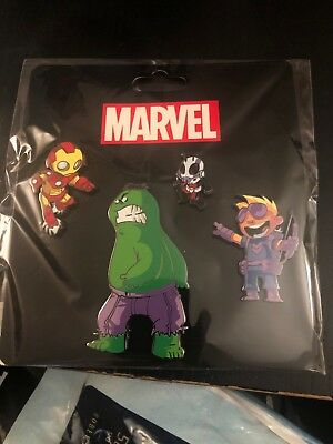 NYCC 2018 Skottie Young AVENGERS MARVEL PIN SET-Iron Man, Hulk, Hawkeye, Ant Man