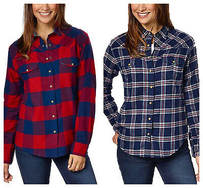 Jachs Girlfriend Ladies Flannel Shirt Long Sleeve w/ Roll Tabs navy/red S-XXL