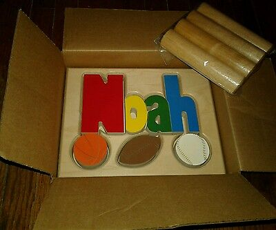 New In Box Baby Name Stool Noah Sports Blocks Wood Baby Toy Ababy