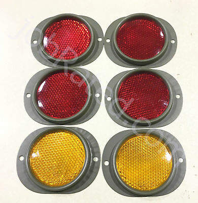 Dodge Military Truck M37 M43  Set Of 6 NEW Reflector 4 Red And 2 Amber