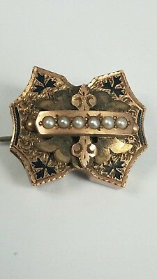 Antique Vintage Rare 14K Rose Gold Watch Fob Pendant Brooch Seed Pearls