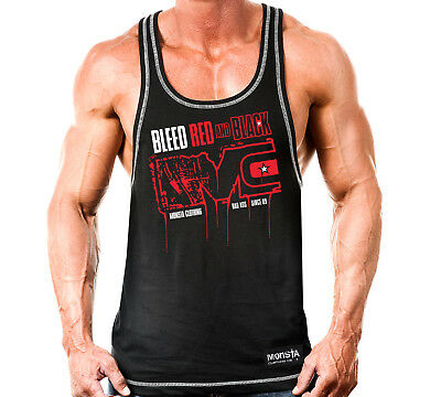 New Mens Monsta Clothing Fitness Gym Racerback: Bleed Black and Red