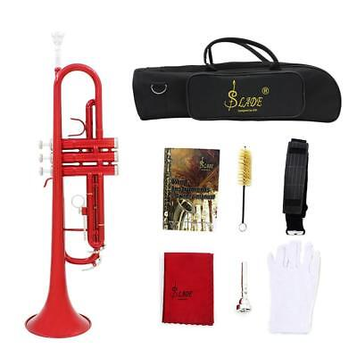 Brass B Flat Beginner Trumpet In Gold Silver Black Blue Purple Red+Care Kit+Case
