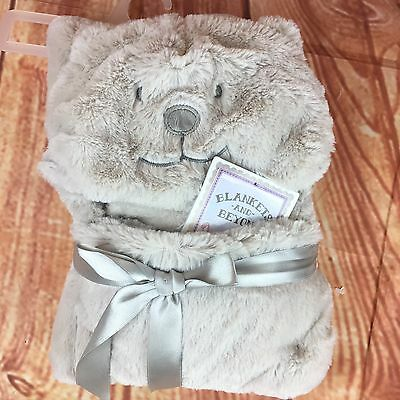 Blankets and Beyond Baby Blanket Plush Gray Bear Hooded 25x29 Inch Infant NEW