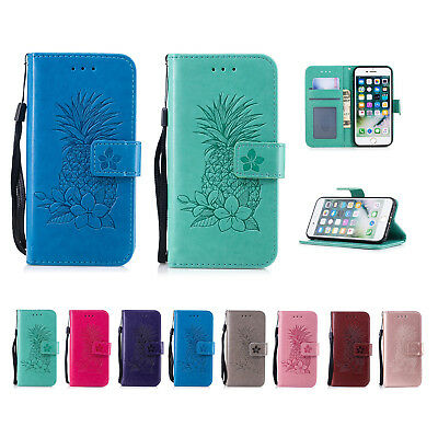 Pineapple Wallet Leather Flip Case Cover For iPhone XS Samsung A8 S9 Plus KU